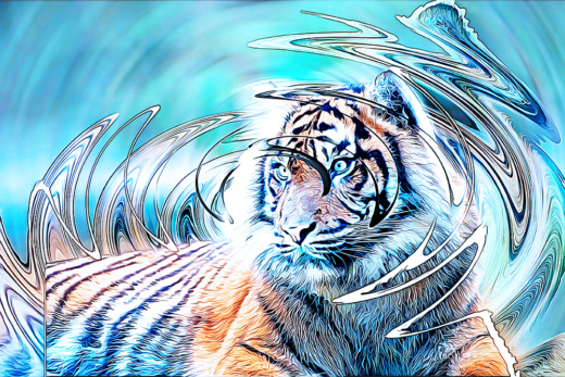 Sumatraanse tijger - Sumatran tiger (Dreaming - Twirl Paint Photoshop Action)